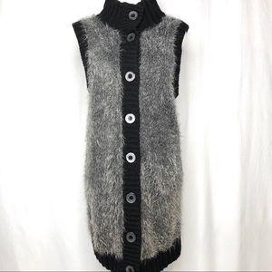 Alfani Long Sleeveless Fuzzy Gray Sweater Jacket